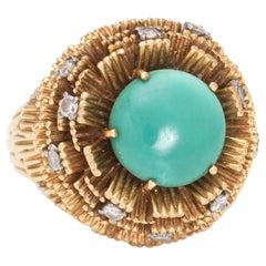 Vintage Cherny Turquoise Diamond Ring 18 Karat Yellow Gold Round Estate Jewelry