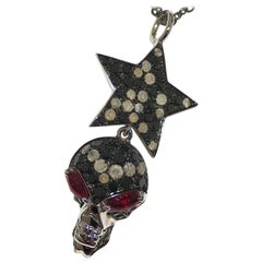 Paolo Piovan Star-Skull Rubies and Diamonds Pendant in white gold