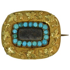 Georgian Era 18 Carat Gold Turquoise and Hair Mourning Brooch