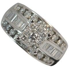 Large 1.50 Carat Diamond 9 Carat White Gold Cluster Bling Ring