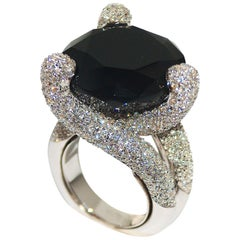 Paolo Piovan Diamonds and Onyx Ring in white gold