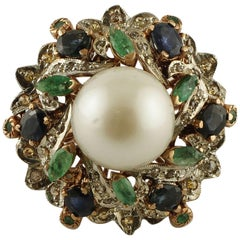 South Sea Pearl, Diamonds, Emeralds, Blue Sapphires 9 Karat Gold and Silver Ring