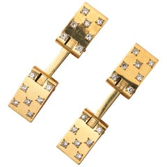 Gold and Diamond French Cufflinks