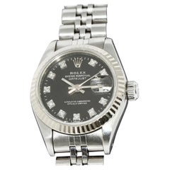 Rolex Ladies Datejust Automatic Black Diamonds Dial