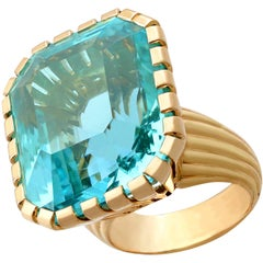 1960s French 46.22 Carat Aquamarine and Yellow Gold Cocktail Ring