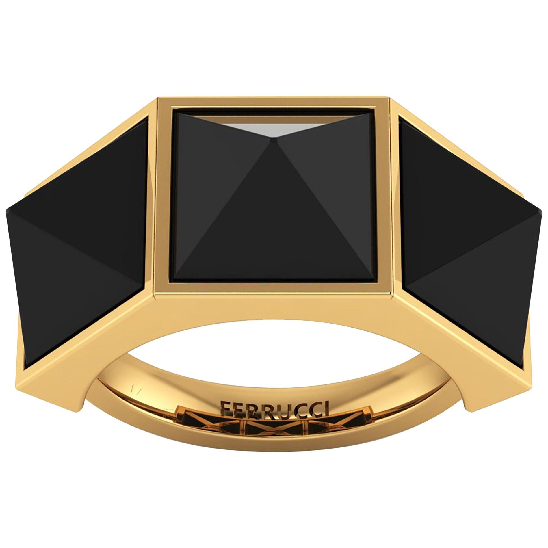 Black Onyx Three-Pyramids 18 Karat Yellow Gold Ring