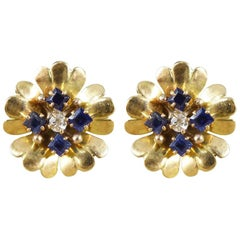 1940s Sapphire and Diamond Set Floral Earrings in 9 Carat Yellow Gold