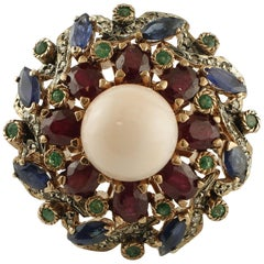 Coral, Emeralds, Rubies, Blue Sapphires, Diamonds 9 Karat Gold and Silver Ring