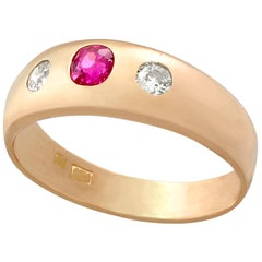 1940s Ruby and Diamond Rose Gold Ring