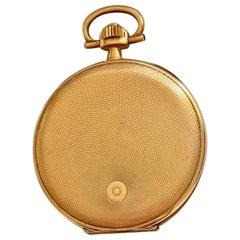 14 Karat Gold Slim Full Hunter Cased Audemars Freres Geneve Pocket Watch