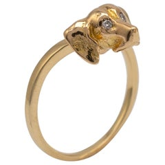 Unusual Dog Ring with Diamonds, 18 Karat Gold with Full British Hallmarks