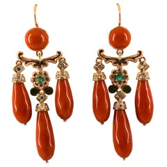 Mediterranean Coral 0.44 Carat White Diamond Emerald Yellow Gold Drop Earrings