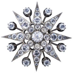 Antique Victorian Paste Stone Star Brooch Silver, circa 1880