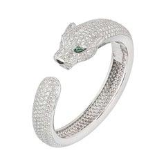 Cartier Panthere De Cartier Diamond and Emerald Bracelet 15.74 Carat