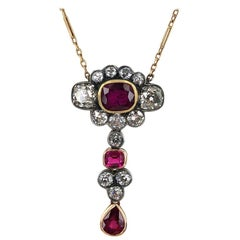 Antique Diamond Natural Ruby 18 Karat Two-Tone Pendant Necklace