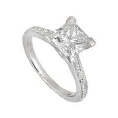GIA Certified Princess Cut Diamond Ring in Platinum 2.02 Carat