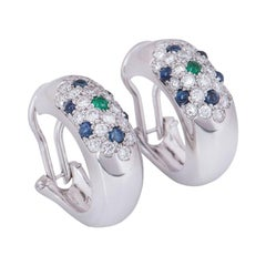 Cartier Diamond, Sapphire and Emerald Earrings