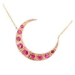 Antique Victorian Ruby Diamond Crescent Moon Necklace
