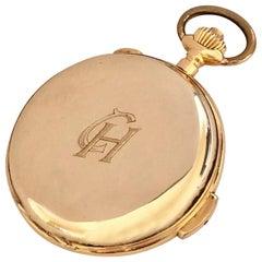 18 Karat Gold Invicta Quarter Repeater Chronograph Full Hunter Pocket Watch