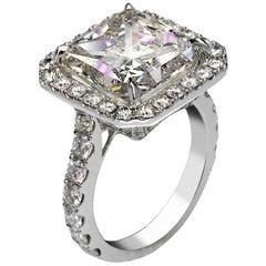 Sky 7 Carat Radiant Cut D Color SI1 Clarity Diamond Engagement Ring '7.07 Carat'