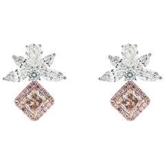 .83 Carat Pink Diamond Drop Earrings 18 Karat Two-Tone Gold