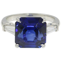 Blue Sapphire Three-Stone Diamond Engagement Platinum 7.18 GRS Certified Ring