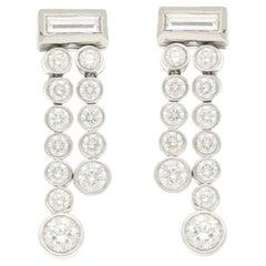 Tiffany & Co Jazz Double Drop Diamond Earrings in Platinum, circa 2005