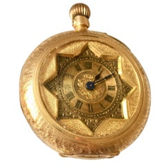 14 Karat Gold Antique Fully Engraved Case Small Pocket 'Fob' Watch