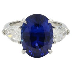 Blue Oval Cut Sapphire Three-Stone Diamond Engagement Platinum Ring GRS