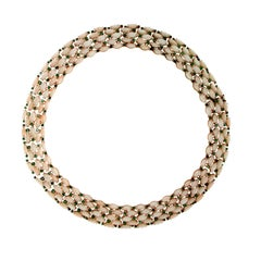 Pink Coral 14 Karat Yellow Gold Emeralds Choker Necklace