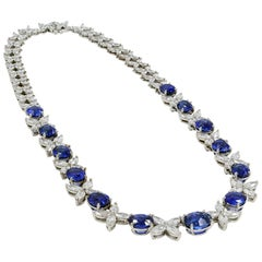 Natural Sapphire GIA Certified Diamonds Gold Riviere Necklace 18 Karat Gold