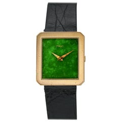 Piaget Protocole 18 Karat Yellow Gold and Green Jade Wristwatch, circa 1970s