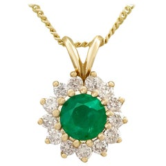 Emerald and Diamond Yellow Gold Cluster Pendant