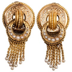 Gold and Pearls Antique Napoleon III Earrings