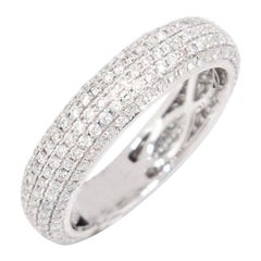 14 Karat Gold VS2,G-H 0.94 Carat Micro Pave Round Diamond Eternity Band Ring