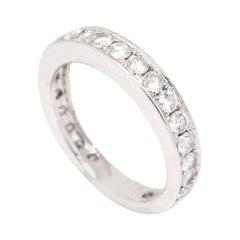 14 Karat White Gold SI1, G, 1.06 Carat Round Diamonds Eternity Engagement Band