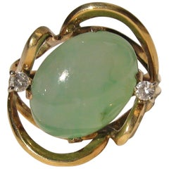 18 Karat Gold Jade and Diamond Dinner Cocktail Ring