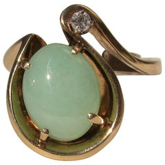 14 Karat Gold Green Jade and Diamond Cocktail Ring, 1960s