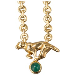 Cartier Gold and Agate Panther Pendant Necklace