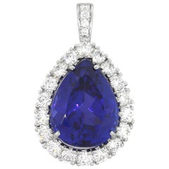 17 Carat Pear Shape Tanzanite Pendant with Diamonds
