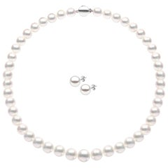 Yoko London South Sea Pearl Necklace and Earring Set, in 18 Karat White Gold