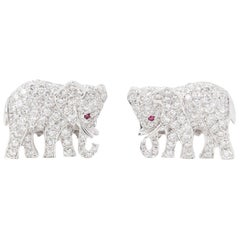 Cartier 18 Karat White Gold Diamond & Ruby Vintage Elephant Cufflinks
