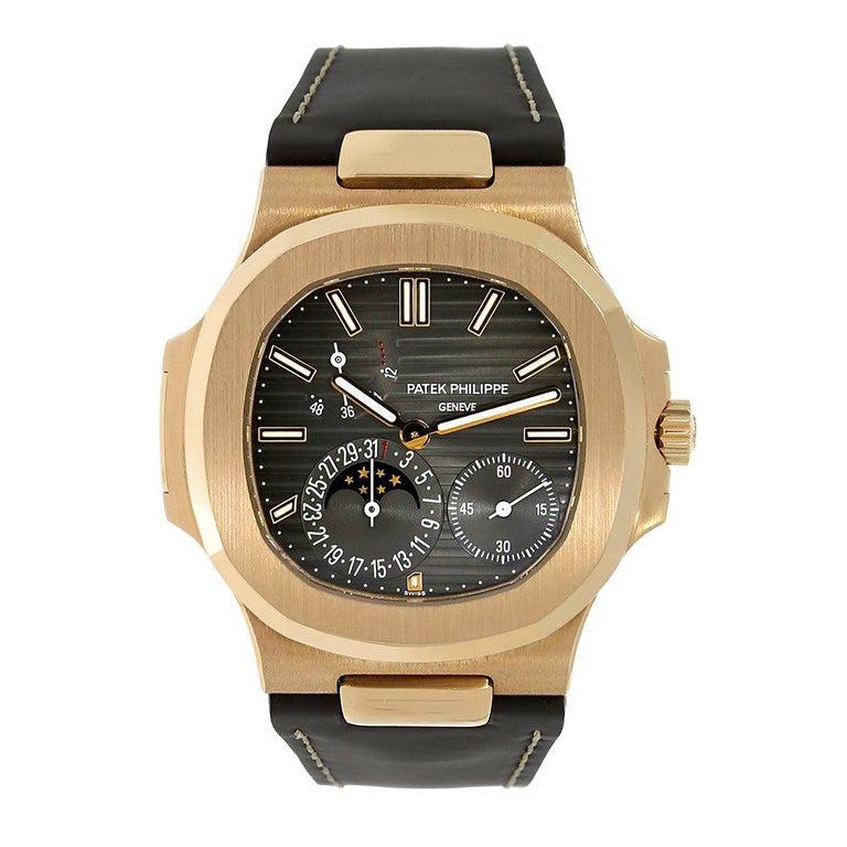 Certified, Patek Philippe Nautilus Moon Phase Rose Gold Watch 5712R-001