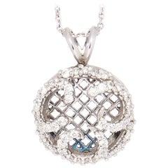 Chic 14 Karat White Gold SI1, G, 1.02 Carat Pavé Diamond Open Medallion Necklace