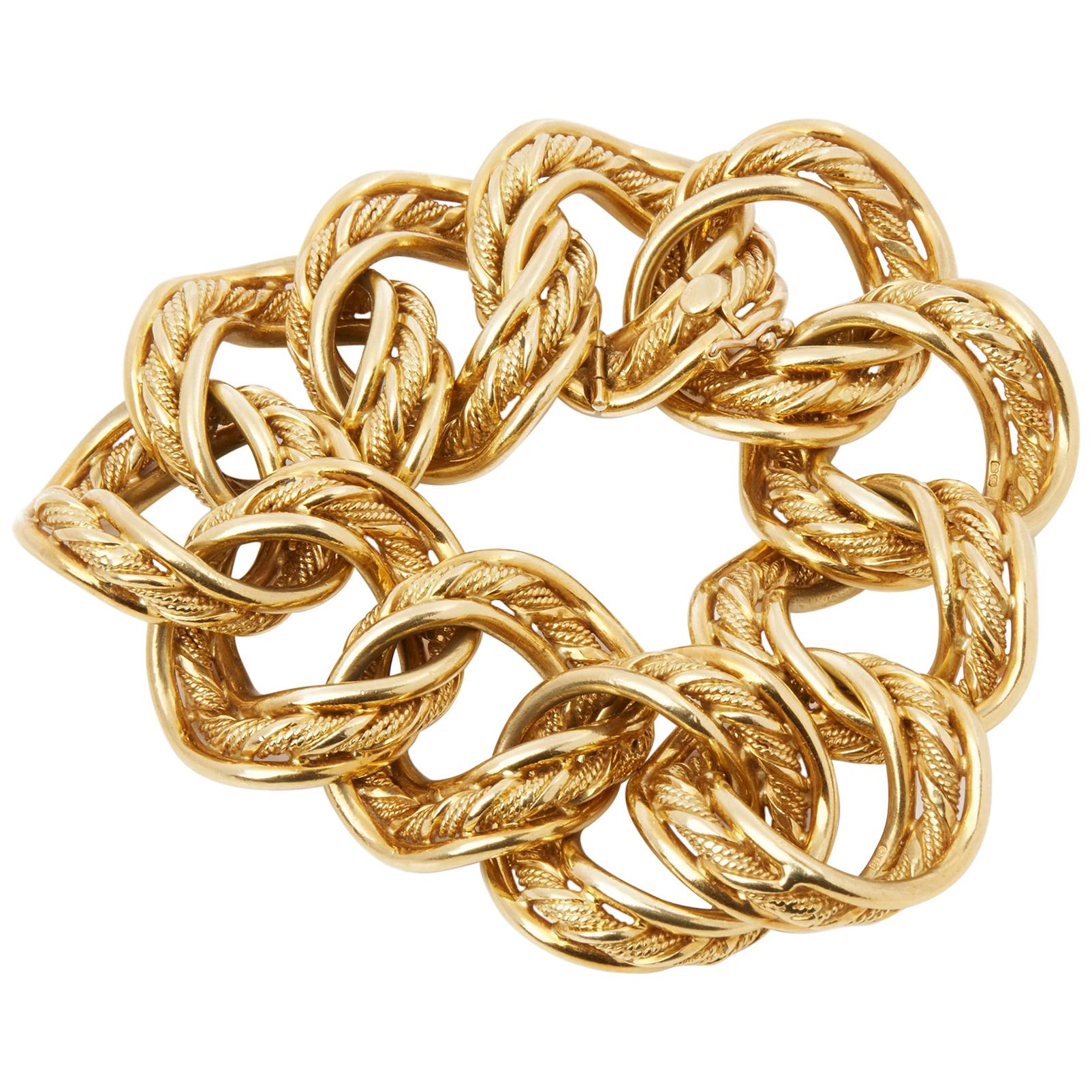 Kutchinsky 18 Karat Yellow Gold 1960's Heavy Link Vintage Bracelet