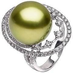 Yoko London Pistachio-Coloured Tahitian Pearl and Diamond Ring, in 18 Karat Gold