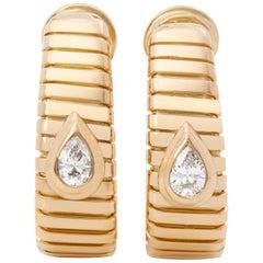Bulgari 18 Karat Yellow Gold Pear Cut Diamond Tubogas Earrings