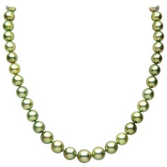 Yoko London Pistachio-Coloured Tahitian Pearl Classic Necklace in 18 Karat Gold