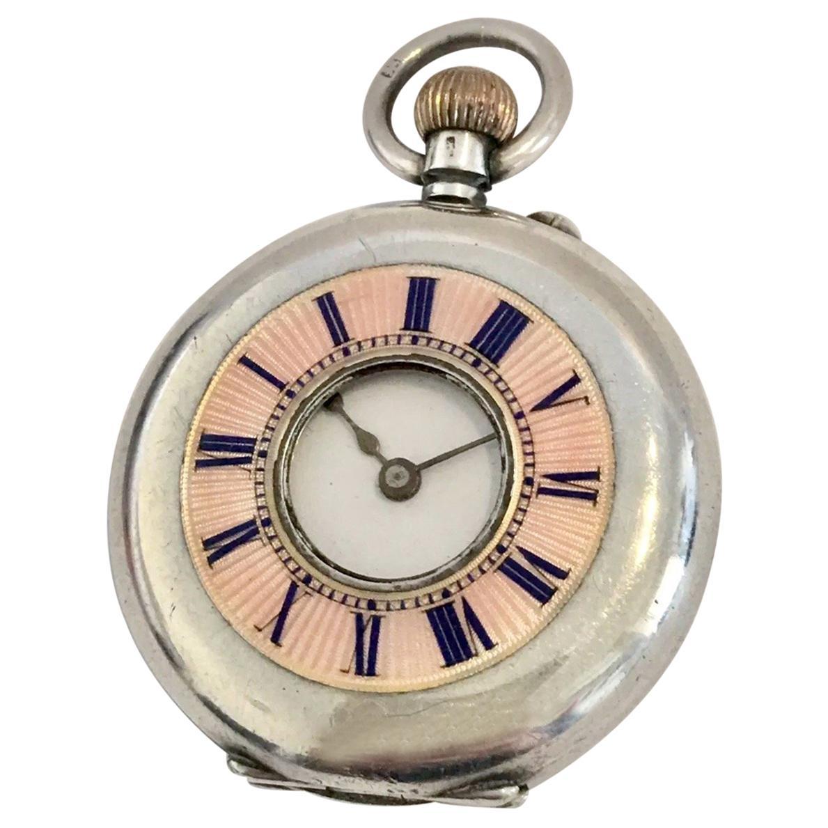 Antique Pink Enamel Small Silver Half Hunter Cased Pocket Watch