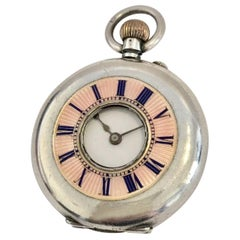 Antique Pink Enamel Small Silver Half Hunter Cased Pocket Watch